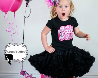 Birthday Diva - Girls Zebra and Hot Pink Applique Shirt or Bodysuit & XL Matching Hair Bow Set with Puff