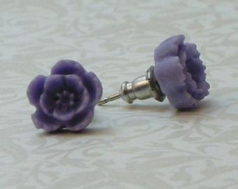 5 Petal Flower Earrings - Periwinkle Purple