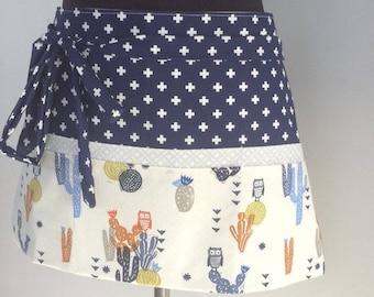 Barista apron vendor apron teacher apron utility apron half apron cactus & owl designer print 6 pocket apron