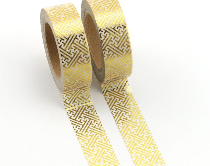 Gold Foil Geometric Washi Tape - Foil washi Tape -  Geometric Washi Tape - Paper Tape - Planner Washi Tape - Washi - Decorative Tape