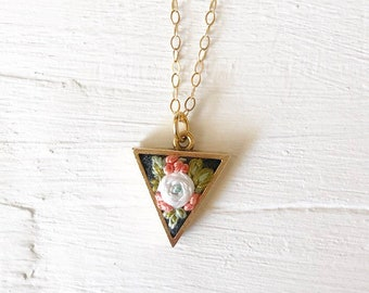 Brass triangle embroidered floral necklace