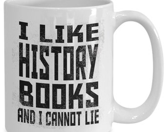 Coffee mug for history book readers, librarian gift, tea cup/decal for book nerds, reader gift