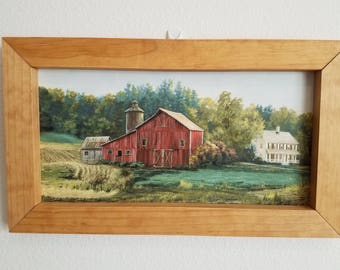Old fashioned style farm with barn and silo