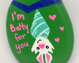 Art Rock - Hand Painted Original Art - Batty for You - Garden Gift