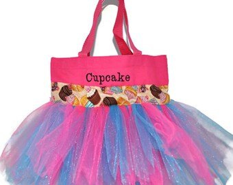 Pink Cupcake Tutu Bag, Free Monogram Name Embroidered on The Bag. Personalized Girl Dance Bag, Tutu Bag, Dance Bag, Fairy Princess Bag
