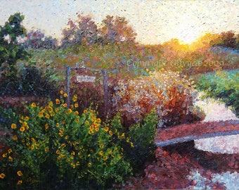 "Landscape Oil Painting, Framed Original, Garden Sunrise, Pointilism, Impressionistic, 18"" x 24"""