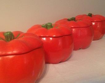 Set of 4 ED LANGBEIN Originals Japan Tomato Form Lidded Bowls