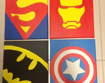Set of 4 Hand Painted Super Hero Logos on 8 x 10 Canvas