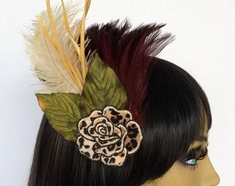 Leopard Print Fascinator, Velvet Hair Flower, Burgundy Feather Fascinator, Ivory Feather Fascinator, Great Gatsby Fascinator
