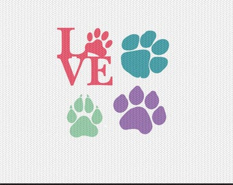 paw prints silhouette stencil svg dxf file instant download silhouette cameo cricut clip art commercial use