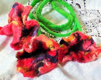 Felt Necklace Jewelry Red Coral Poppy Necklace Felted Art To Wear, Statement Necklace, Ecofriendly Gift For Her,