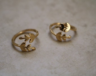 Leaf Cuff Ring - Adjustable Ring- Gold Plated Ring - Stacking Ring - Layering Ring - Gold Ring