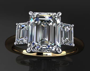 kennedy ring - 2.5 carat emerald cut NEO moissanite engagement ring