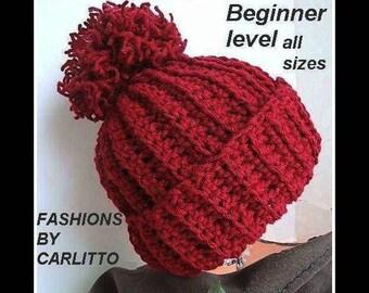 hat crochet pattern, crochet pattern hat,  crochet hat pattern, #49 ,UNISEX TOUQUE, men , womens, teens, childrens, Beginner, pdf download,
