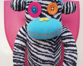 Wall Mounted Zebra Striped Sock Monkey