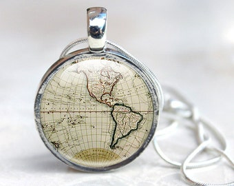 Glass globe necklace etsy map necklace ancient world map globe necklace world map pendant old map gumiabroncs Gallery