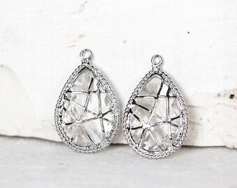 2101 Silver teardrop pendant 22x14 mm Crystal pendant Rhodium plated Jewelry pendants Drop pendant Silver pendant Glass pendant 2 pcs.