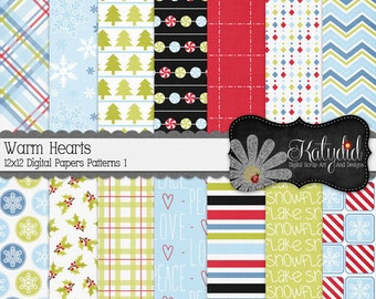 Warm Hearts Winter Digital 12x12 Decorative Pattern 1 Papers and Backgrounds INSTANT DOWNLOAD