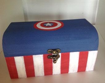 Captain America inspired treasure chest box