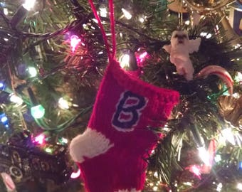 Hand Knit, Mini Stocking. Gift Card Holder, Ornament, Table Marker, Gift, Christmas Stocking, Red Sox