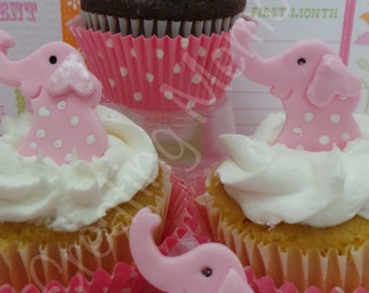 12 Edible cute ELEPHANTS Cupcake or Decorations, made with vanilla fondant you choose the colors pink, blue, yellow or mix and match