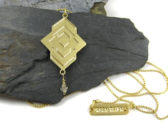 Gold Geometric Necklace / Long Necklace With Charms / Large Pendant Necklace / Gold Tribal Necklace / Geometric Jewelry / Mountain Necklace