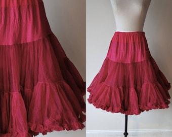 "Vintage Sam's nylon crinoline slip / red ruffled half slip / can can / square dance slip size medium 24"" length"
