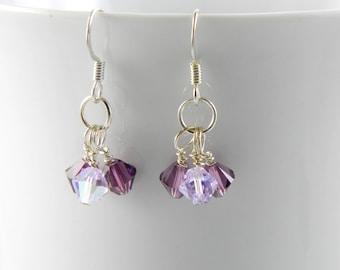 Purple Crystal Dangle Earrings made with Swarovski Crystal