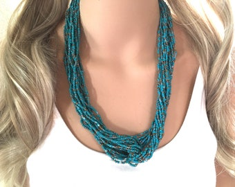 Turquoise & Gold Beaded Statement necklace, multi strand seed bead necklace