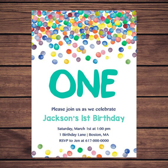 Colorful confetti 1st birthday invitation any age rainbow filmwisefo