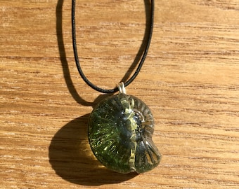 Handmade Glass Ammonite pendant