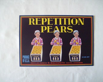 Repetition Pears Crate Label 1930s