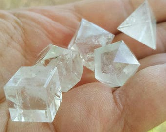 Clear Quartz Five Platonic Solids Set