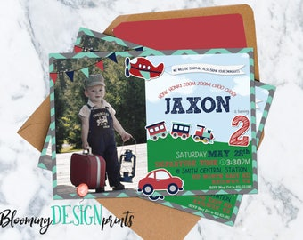 Train, Planes and Automobiles Transportation Birthday Party Invitation with Photo