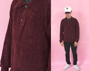 Vintage polo shirt long sleeve knit red maroon 1990s 1980s 90s 80s red polo velour shirt