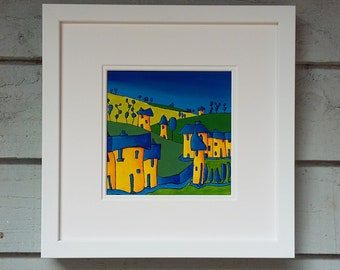 "Original Art Landscape Painting 12""x12"" Acrylic Naive Painting in Acrylic Original Impressionism Landscape Expressionism Board Artwork Art"