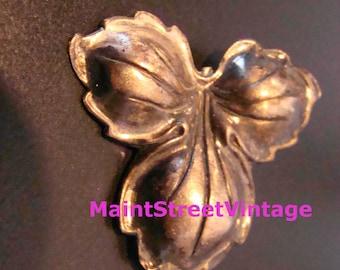 Vintage  JewelArt Sterling Silver Puffed Leaf Brooch