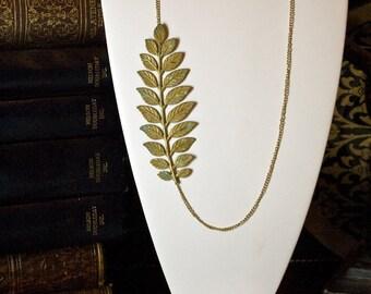 Helen of Troy Falling Leaf Brass Necklace
