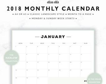 2018 MONTHLY CALENDAR / A4 Calendar / Monthly Calendar / Wall Planner / Monthly Planner / Planner / The Harlow Planners in Roadster / 413