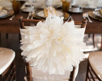 Peony Flower Wedding Chair Cover/ Chiavari Chair Cover/ Bride and Groom/ Chair sash, wedding decoration/ Fancy chair cover