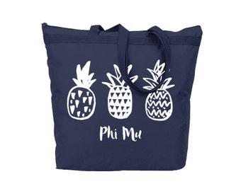Phi Mu Pineapple Tote Sorority Gift Sorority Tote Choose Your Colors!