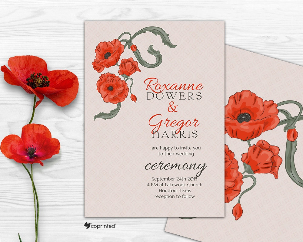 Poppies Wedding Invitation nature poppies flowers