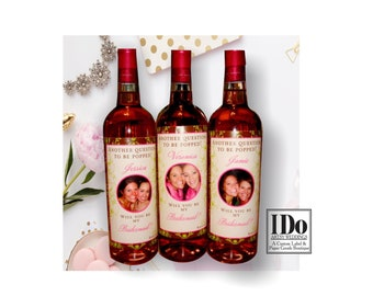 Bridal Party Gifts - Custom Bridesmaid Wine Labels - Fun Photo Labels - Bridal Party Ask Labels
