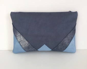 Blue glitter suede and Navy/Sky Blue Velvet clutch
