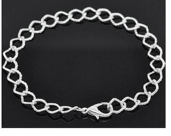 Bracelet links horse carved 20 cm silver metal