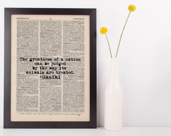 Featured listing image: The Greatness of a Nation Gandhi Dictionary Art Print Inspire Motivational