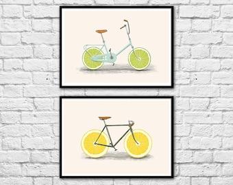 2 Art-Posters 30 x 40 cm - Bikes and lemons