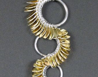 Mini Golden Scale Chainmaille Pendant