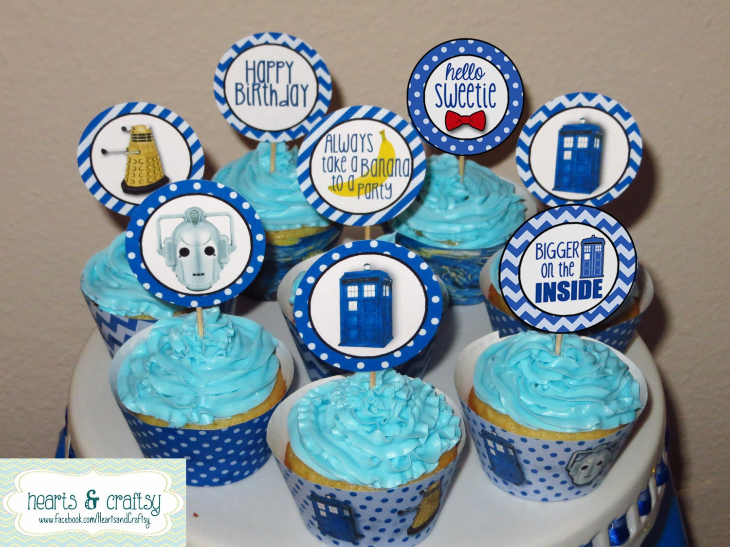 Doctor Who Party Tardis Dalek inspired Cupcake Toppers