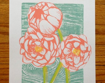Peonies - limited edition, hand-printed screen print